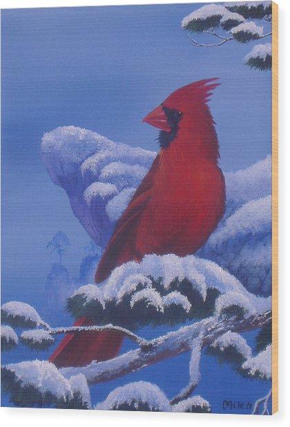 Winter Cardinal Wood Print by Michael Allen