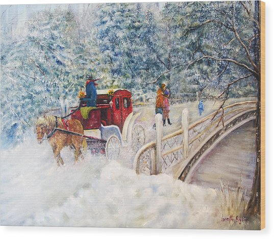 Winter Carriage In Central Park Wood Print