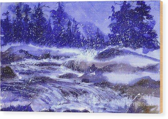Winter Cascade Wood Print