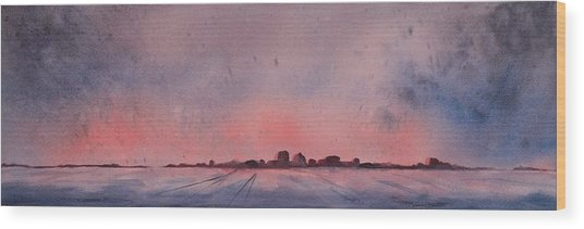 Wood Print featuring the painting Winter City by Ruth Kamenev