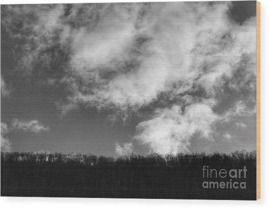 Winter Clouds Over The Delaware River Wood Print