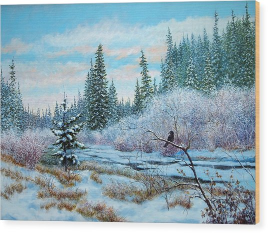 Winter Creek With Crow Wood Print