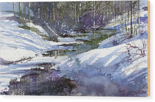 Wood Print featuring the painting Winter Creekbed by Andrew King