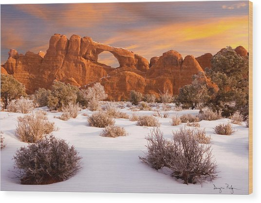 Winter Dawn At Arches National Park Wood Print