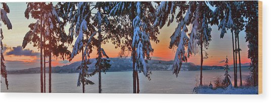 Winter Drama Sunrise Panorama Wood Print by Mary Gaines