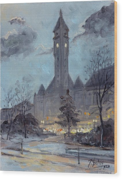 Winter Dusk - Union Station Wood Print