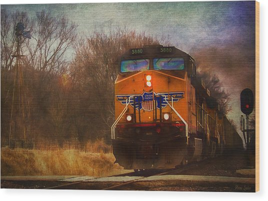 Winter Evening Union Pacific Train Wood Print