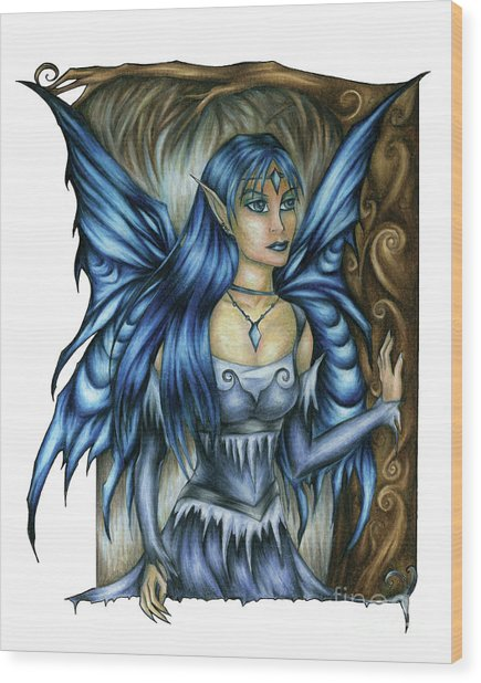 Winter Fairy Drawing Wood Print