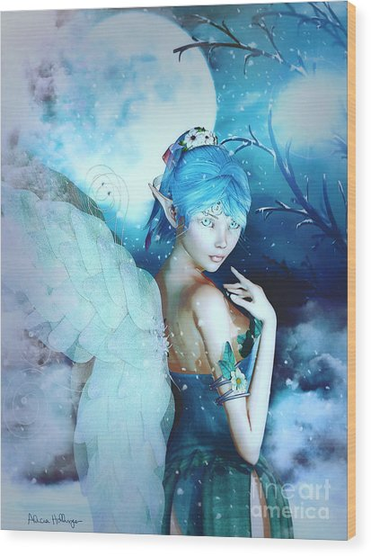 Winter Fairy In The Mist Wood Print