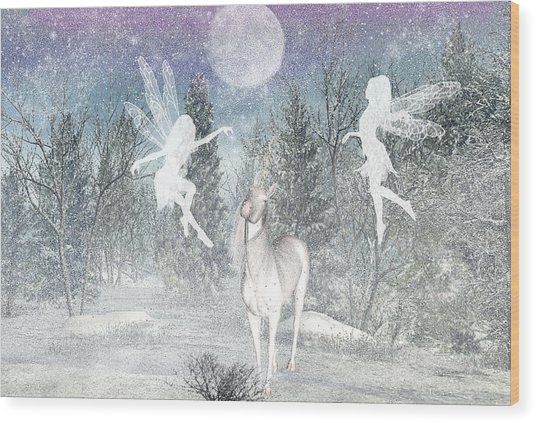 Winter Fairy Magic Wood Print by Lisa Roy
