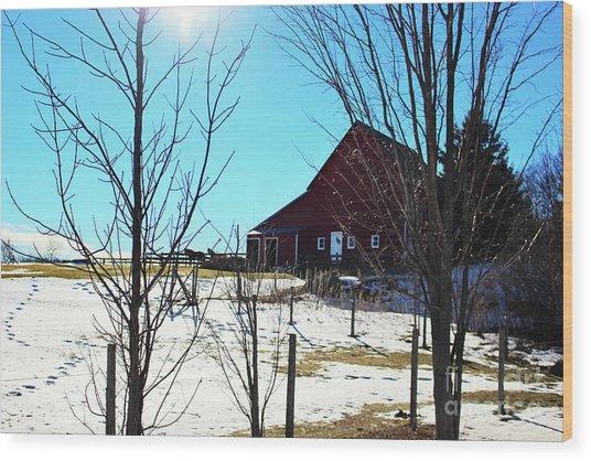 Winter Farm House Wood Print