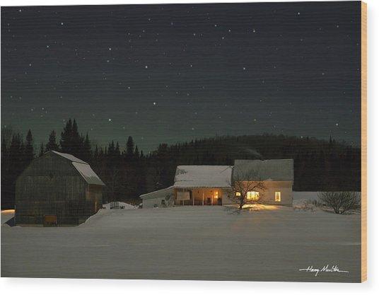 Winter Farmhouse Wood Print
