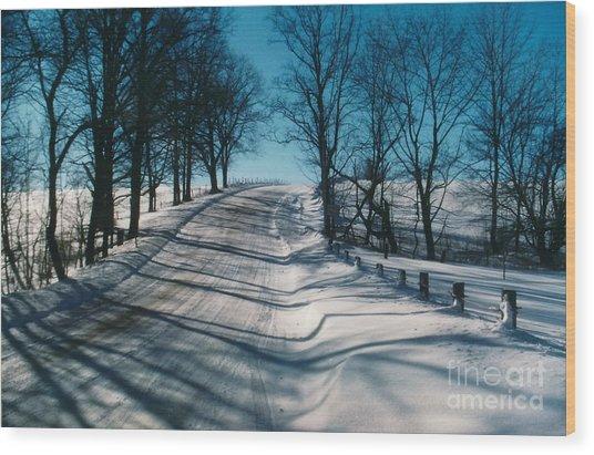 Winter Farmroads Wood Print