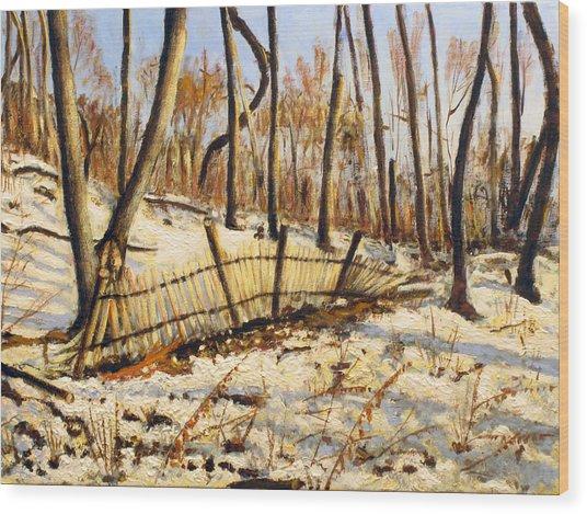 Winter Fence Wood Print by Vladimir Kezerashvili