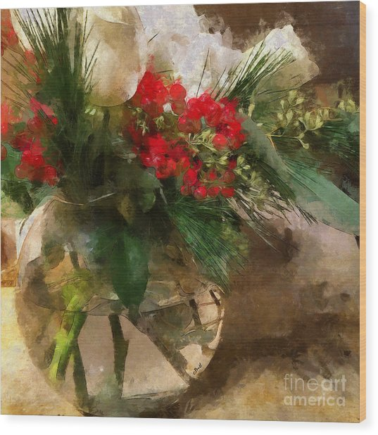 Winter Flowers In Glass Vase Wood Print