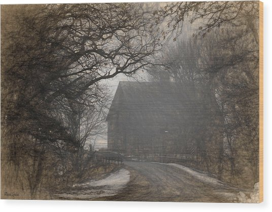 Winter Foggy Countryside Road And Barn Wood Print