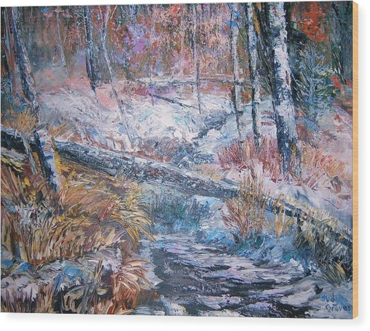 Winter Forest Wood Print by Judy Groves