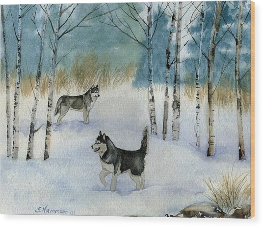 Winter Frolic Wood Print