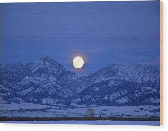 Winter Full Moon Over The Rockies Wood Print