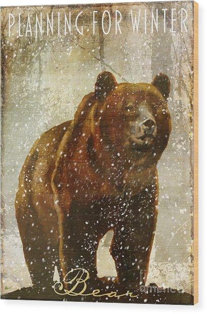 Winter Game Bear Wood Print