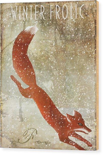 Winter Game Fox Wood Print