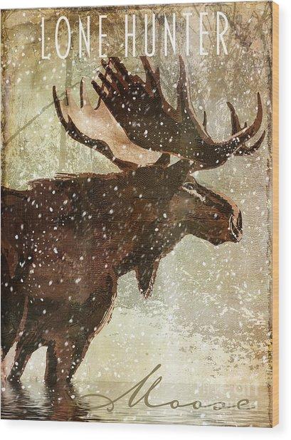 Winter Game Moose Wood Print