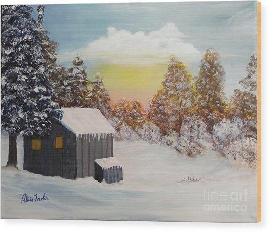 Winter Getaway Wood Print
