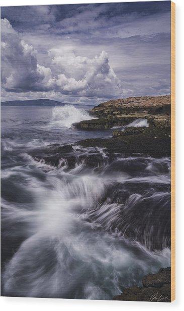 Winter Harbor At Acadia National Park Wood Print