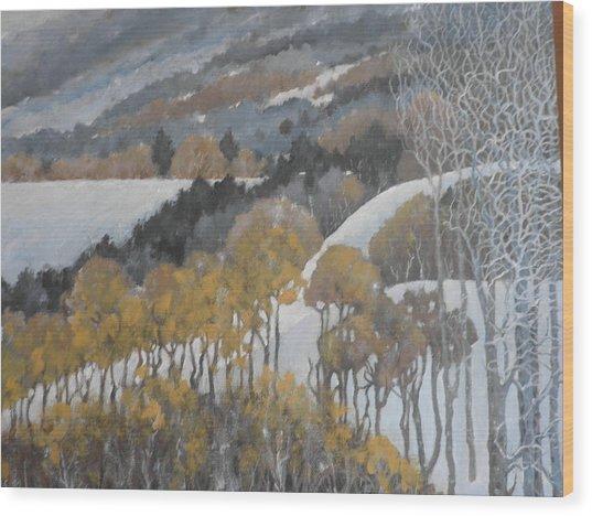 Winter Hills Wood Print by Giacomo Alessandro Morotti