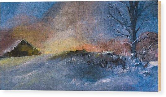 Winter Horse Barn Snowy Landscape Wood Print