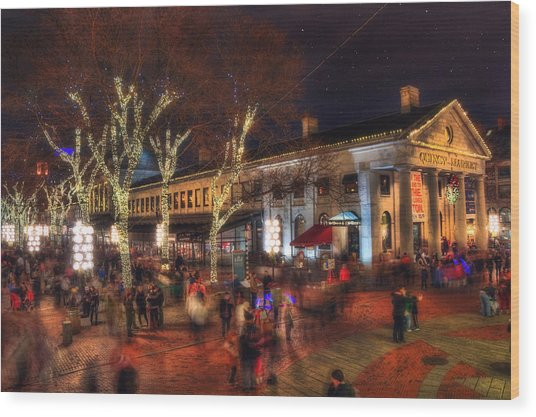 Winter In Boston - Quincy Market Wood Print