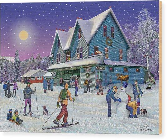 Winter In Campton Village Wood Print