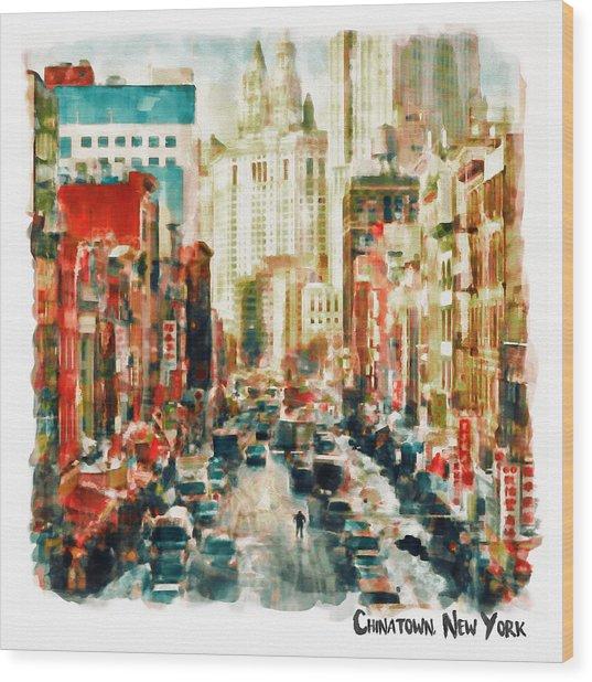 Winter In Chinatown - New York Wood Print