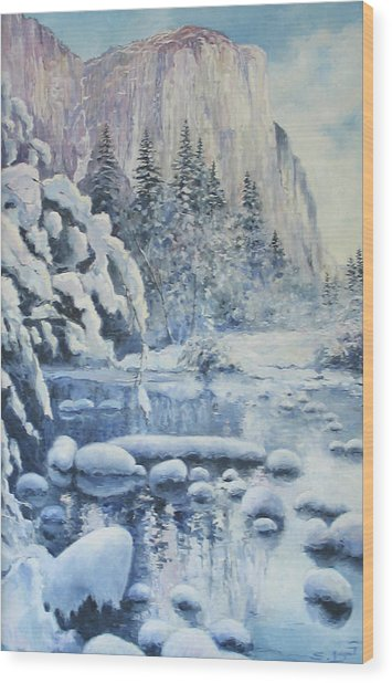 Winter In El Capitan Wood Print