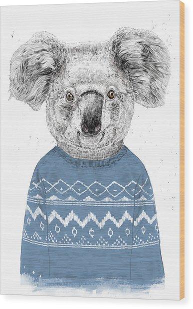 Winter Koala Wood Print