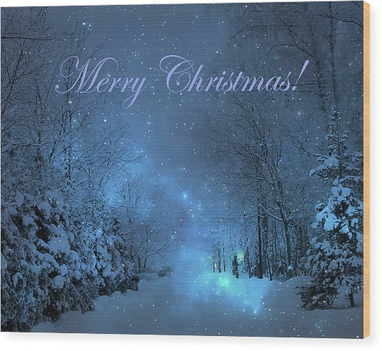 Winter Landscape Blue Christmas Card Wood Print