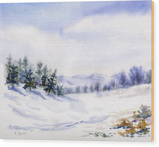 Winter Landscape Snow Scene Wood Print