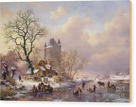 Winter Landscape With Castle Wood Print