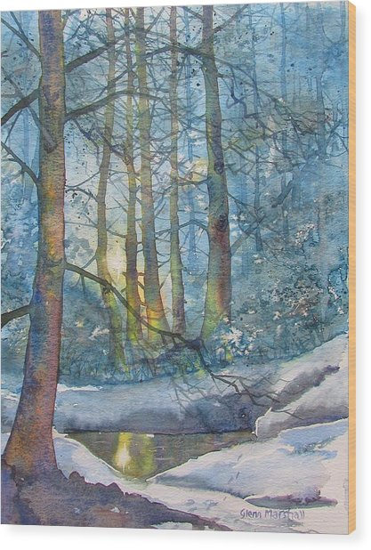 Winter Light In The Forest Wood Print