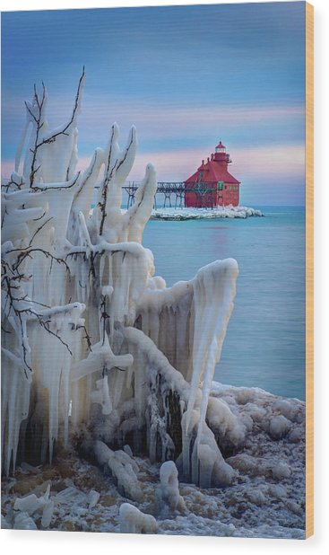 Winter Lighthouse Wood Print