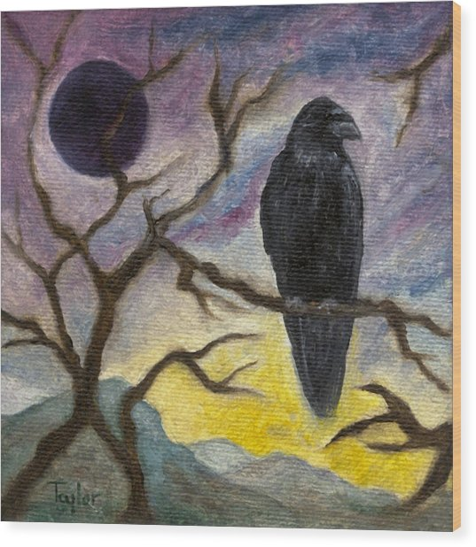 Winter Moon Raven Wood Print