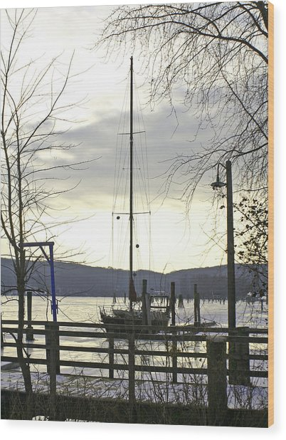 Winter Mooring Wood Print by Gerald Mitchell