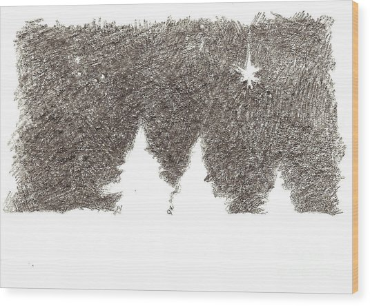 Winter Night - Aceo Wood Print