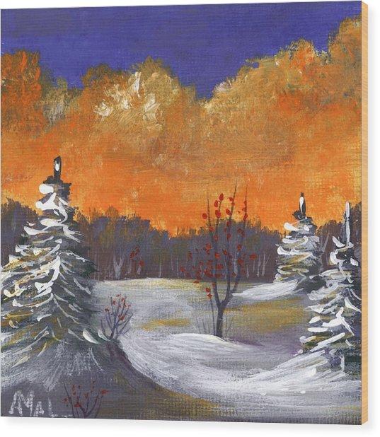 Wood Print featuring the painting Winter Nightfall #1 by Anastasiya Malakhova