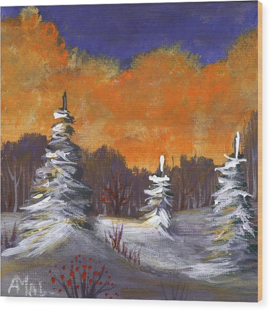 Wood Print featuring the painting Winter Nightfall #2 by Anastasiya Malakhova
