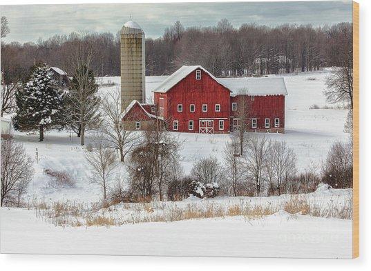 Winter On A Farm Wood Print