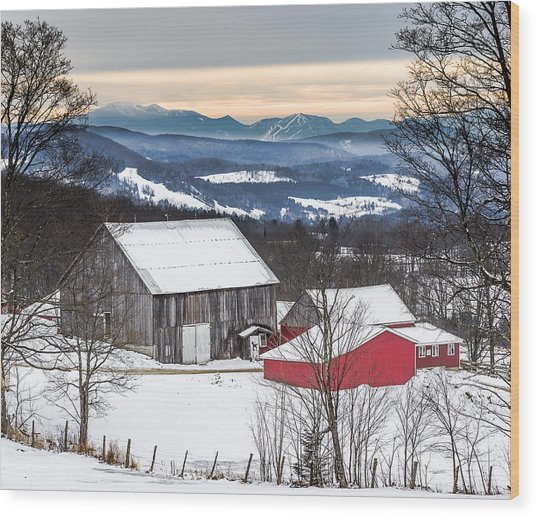Winter On The Farm On The Hill Wood Print