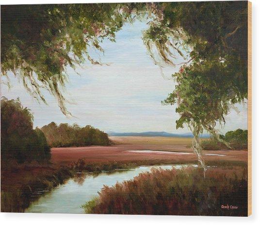 Winter On The Marsh Wood Print
