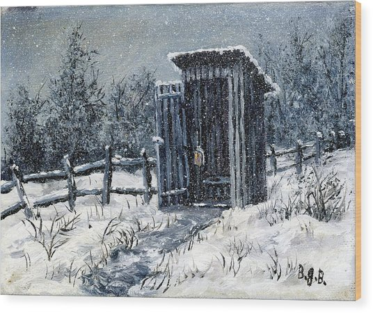 Winter Outhouse #2 Wood Print