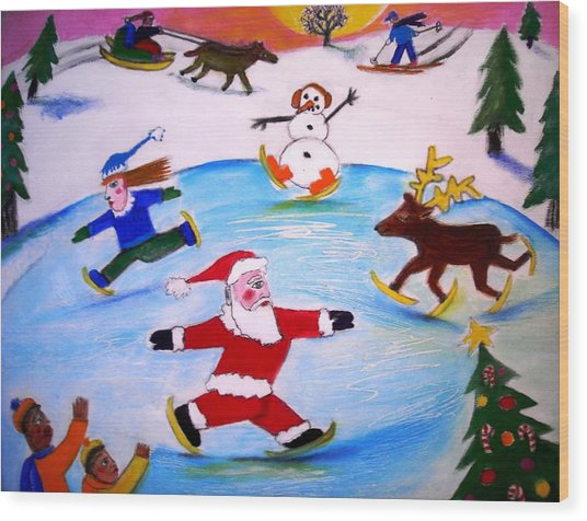 Winter Party With Santa And Rudolph Wood Print by Ward Smith